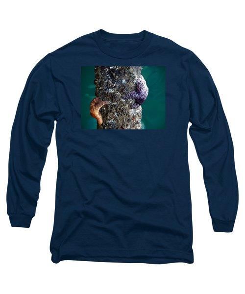 Starfish Under The Pier Long Sleeve T-Shirt by Kathy Churchman