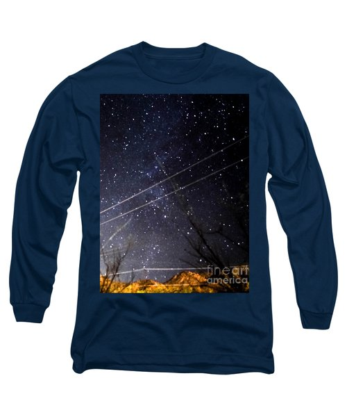 Stars Drunk On Lightpaint Long Sleeve T-Shirt by Angela J Wright