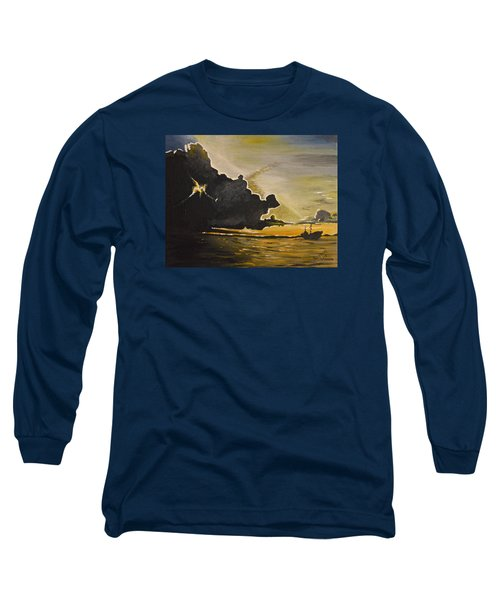 Long Sleeve T-Shirt featuring the painting Staying Ahead Of The Storm by Donna Blossom