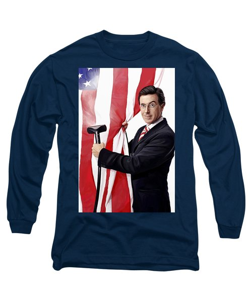 Long Sleeve T-Shirt featuring the painting Stephen Colbert Artwork by Sheraz A