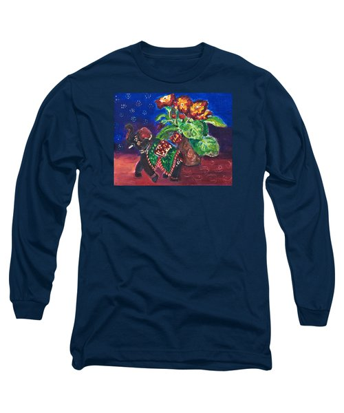 Still Life With Elephant Figure And Prrimulas Long Sleeve T-Shirt
