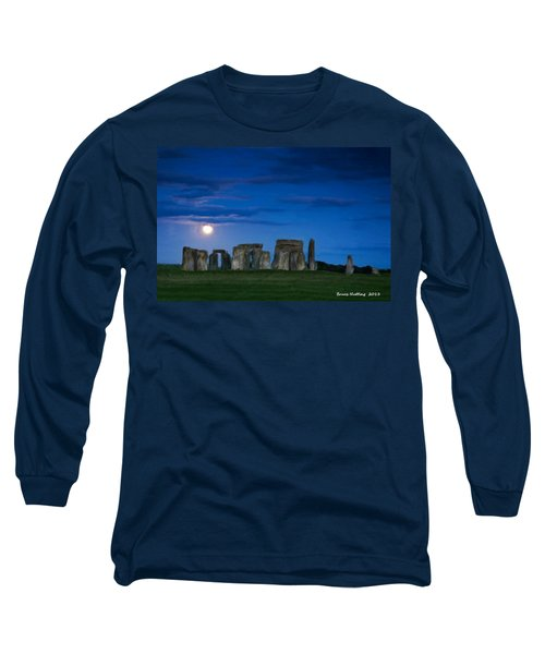 Long Sleeve T-Shirt featuring the painting Stonehenge At Night by Bruce Nutting