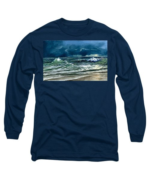 Long Sleeve T-Shirt featuring the painting Storm Off Yucatan Mexico by Lynne Wright