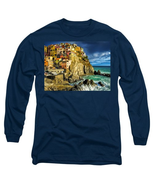 Stormy Day In Manarola - Cinque Terre Long Sleeve T-Shirt