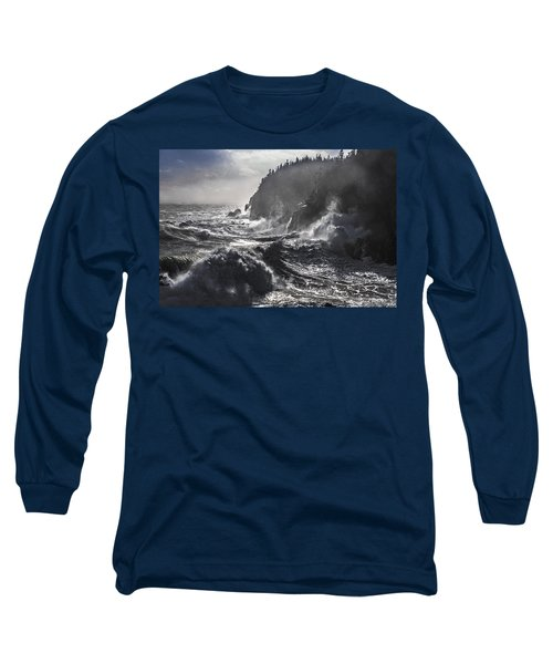 Stormy Seas At Gulliver's Hole Long Sleeve T-Shirt by Marty Saccone
