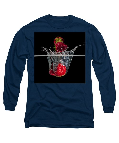 Strawberries Splashing In Water Long Sleeve T-Shirt by Mike Santis