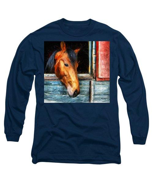 Strong Powerful Beautiful - Horse Drawing Long Sleeve T-Shirt