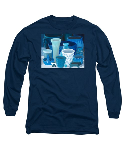 Study In Blue Long Sleeve T-Shirt by Katherine Young-Beck