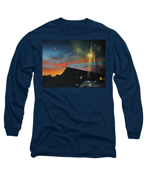 Suburban Sunset Oil On Canvas Long Sleeve T-Shirt