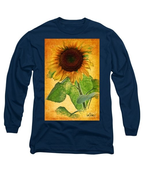 Sunny Sunflower Long Sleeve T-Shirt by Carol F Austin