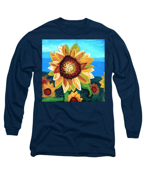 Sunflowers And Blue Sky Long Sleeve T-Shirt by Genevieve Esson