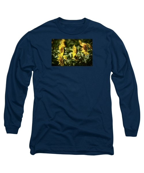 Long Sleeve T-Shirt featuring the photograph Sunflowers In The Wind by Steven Sparks