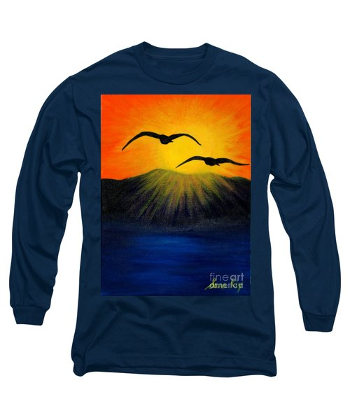 Sunrise And Two Seagulls Long Sleeve T-Shirt by Oksana Semenchenko