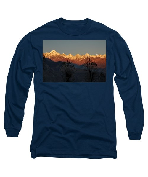 Sunset And Moonrise. The Rendezvous. Long Sleeve T-Shirt by Fotosas Photography