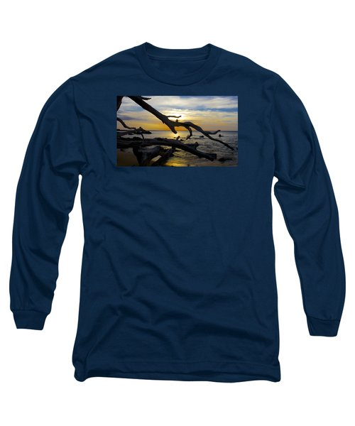 Driftwood At Sunset On Beach '69 Long Sleeve T-Shirt by Venetia Featherstone-Witty