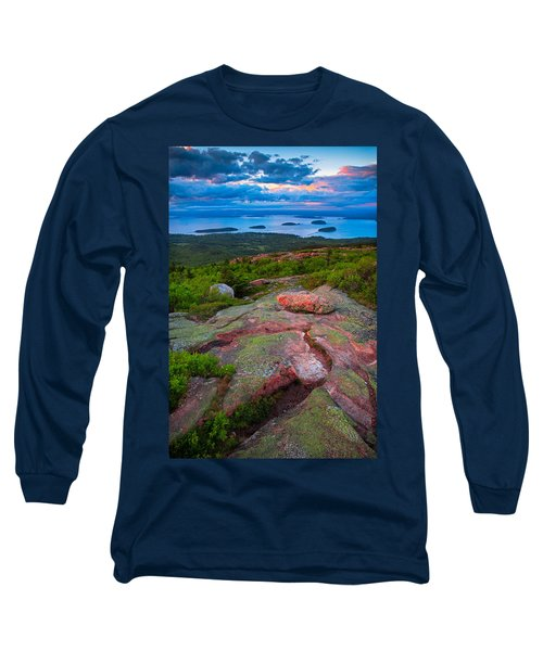 Sunset At Cadillac Mountain Long Sleeve T-Shirt