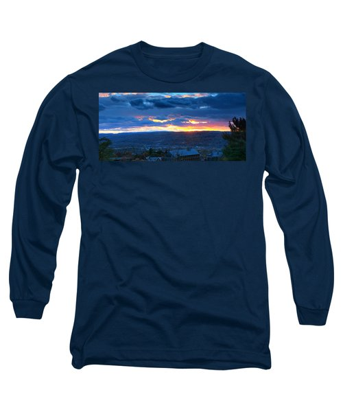 Sunset In Ithaca New York Panoramic Photography Long Sleeve T-Shirt by Paul Ge