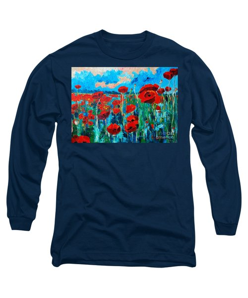 Sunset Poppies Long Sleeve T-Shirt by Ana Maria Edulescu