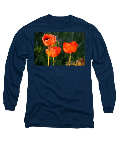 Long Sleeve T-Shirt featuring the photograph Sunset Poppies by Debbie Oppermann