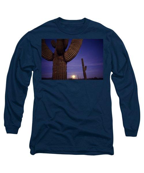 Sunset With Moonise Behind Saguaro Cactus In Desert Southwest Ar Long Sleeve T-Shirt
