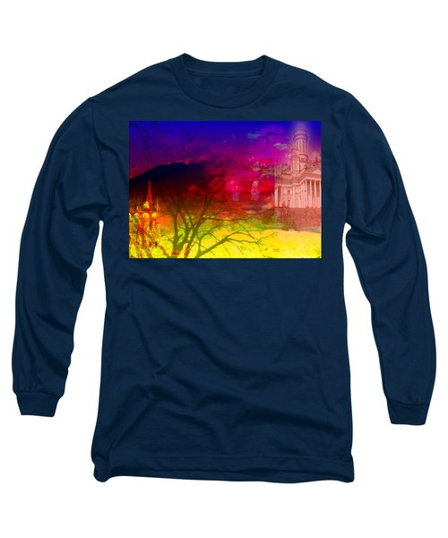 Long Sleeve T-Shirt featuring the digital art Surreal Buildings  by Cathy Anderson