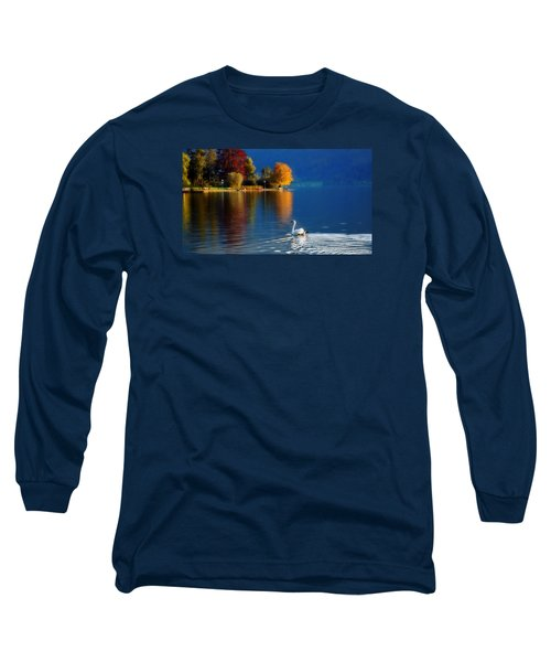Beautiful Autumn Swan At Lake Schiliersee Germany  Long Sleeve T-Shirt