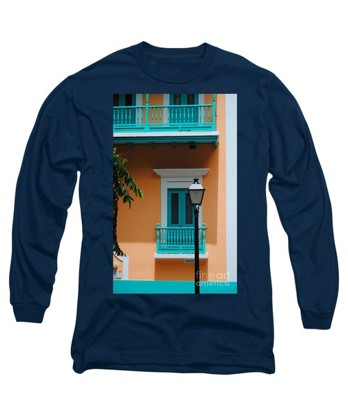 Teal With Pale Orange Long Sleeve T-Shirt