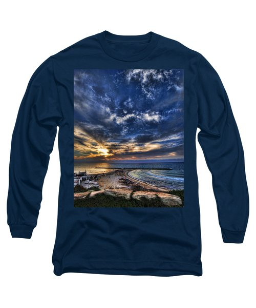 Long Sleeve T-Shirt featuring the photograph Tel Aviv Sunset At Hilton Beach by Ron Shoshani