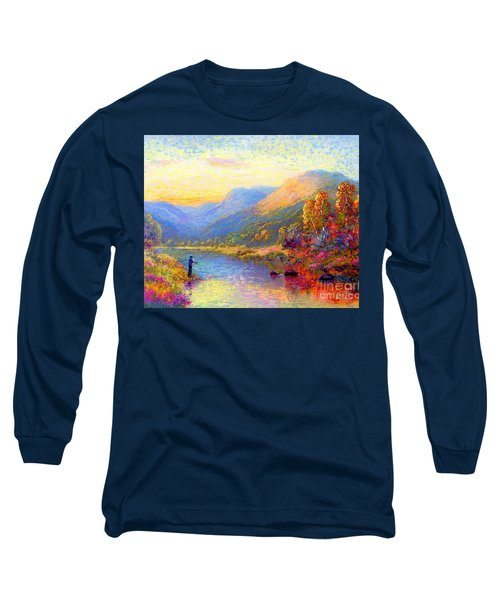 Long Sleeve T-Shirt featuring the painting Fishing And Dreaming by Jane Small