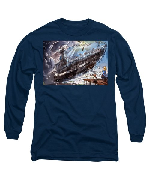 The Flying Submarine Long Sleeve T-Shirt by Reynold Jay