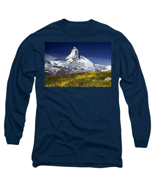The Matterhorn With Alpine Meadow In Foreground Long Sleeve T-Shirt