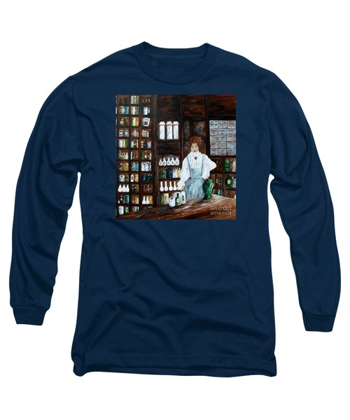Long Sleeve T-Shirt featuring the painting The Old Pharmacy ... Medicine In The Making by Eloise Schneider