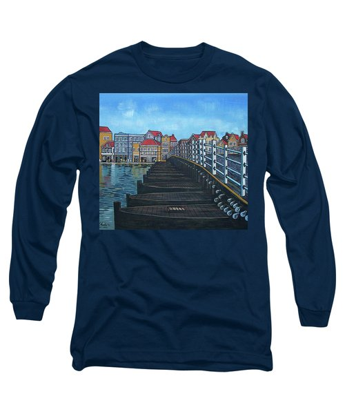 The Old Queen Emma Bridge In Curacao Long Sleeve T-Shirt by Frank Hunter