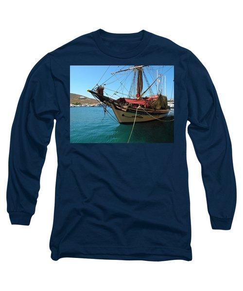 The Pirate Ship  Long Sleeve T-Shirt by Micki Findlay