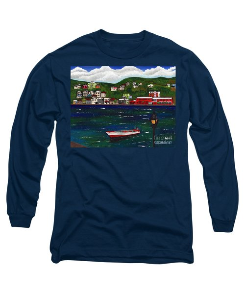 The Red And White Fishing Boat Carenage Grenada Long Sleeve T-Shirt by Laura Forde