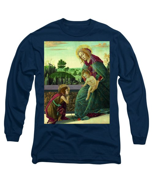 The Rockefeller Madonna. Madonna And Child With Young Saint John The Baptist Long Sleeve T-Shirt