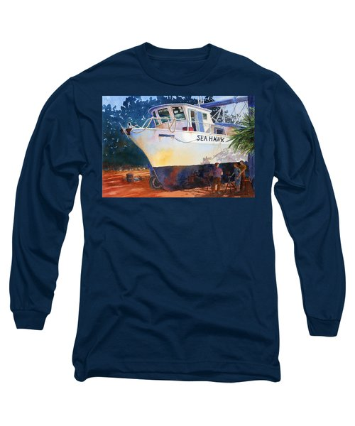 Long Sleeve T-Shirt featuring the painting The Sea Hawk In Drydock by Roger Rockefeller