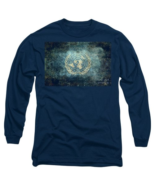 The United Nations Flag  Vintage Version Long Sleeve T-Shirt