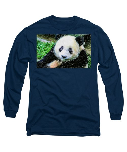 Long Sleeve T-Shirt featuring the painting Thinking Of David Panda by Lanjee Chee