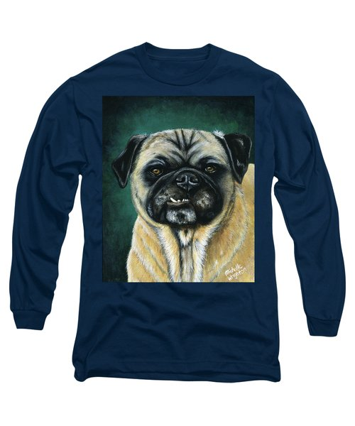 This Is My Happy Face - Pug Dog Painting Long Sleeve T-Shirt