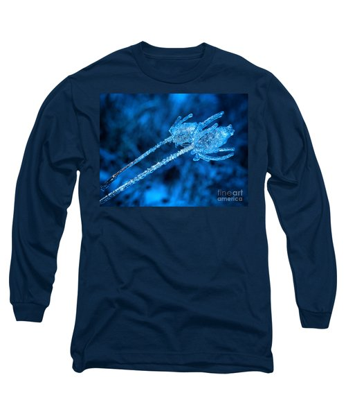 Thistle Plant On Icy Night Long Sleeve T-Shirt