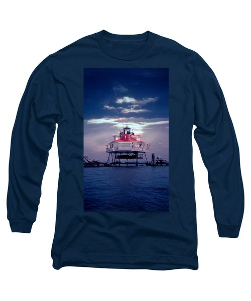 Thomas Point Shoal Lighthouse Long Sleeve T-Shirt by Skip Willits