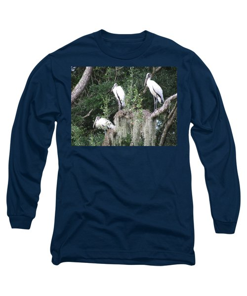 Three Wood Storks Long Sleeve T-Shirt