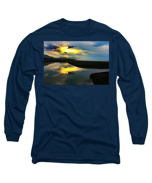 Long Sleeve T-Shirt featuring the photograph Tidal Pond Sunset New Zealand by Amanda Stadther