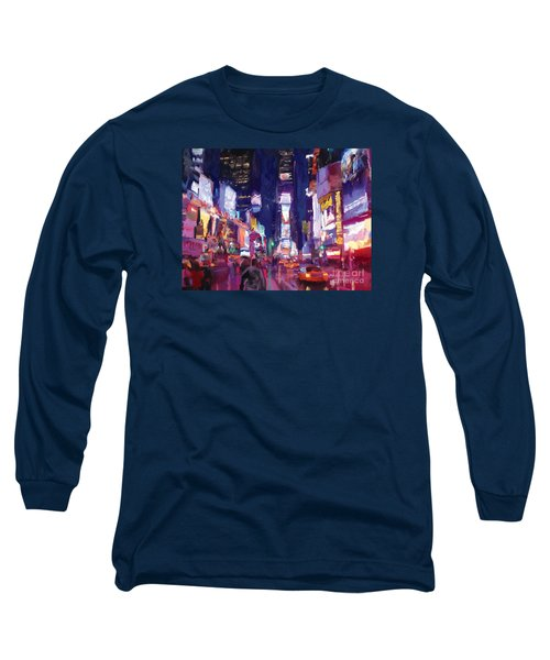 Long Sleeve T-Shirt featuring the painting Amy's Time Square In The Rain by Tim Gilliland