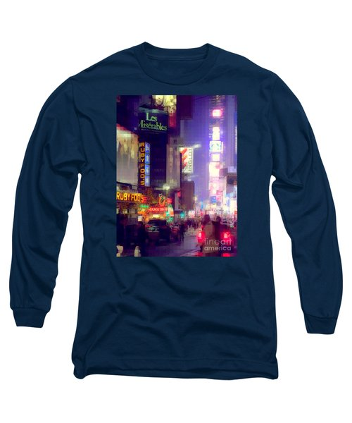 Times Square At Night - Columns Of Light Long Sleeve T-Shirt by Miriam Danar