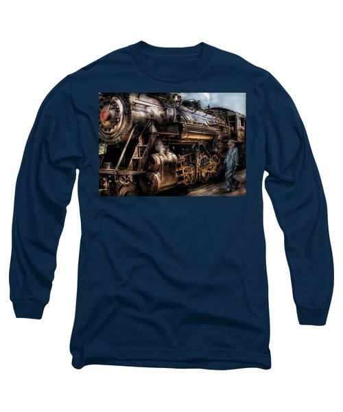 Train - Engine -  Now Boarding Long Sleeve T-Shirt by Mike Savad