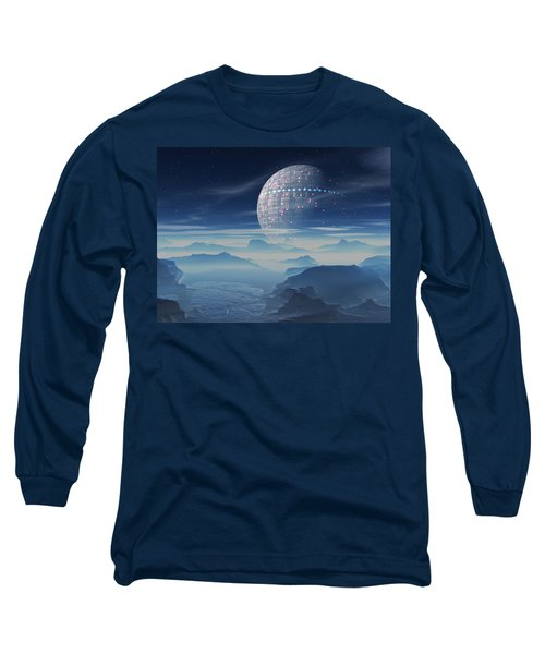 Long Sleeve T-Shirt featuring the digital art Tranus Alien Planet With Satellite by Judi Suni Hall