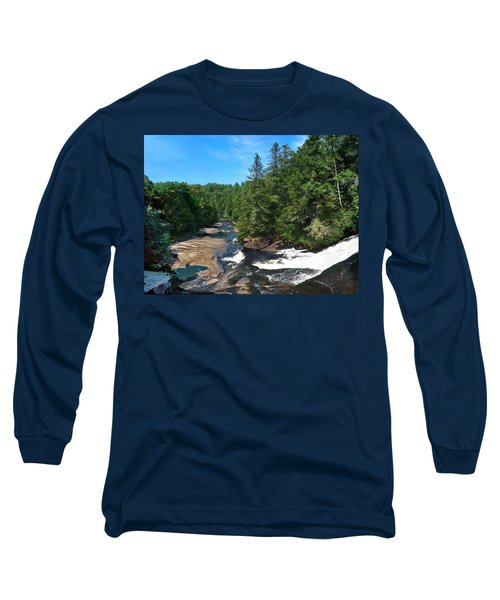 Triple Falls North Carolina Long Sleeve T-Shirt by Steve Karol
