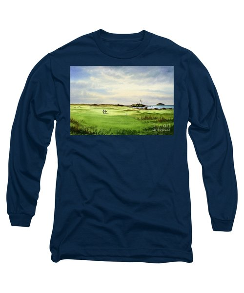 Long Sleeve T-Shirt featuring the painting Turnberry Golf Course Scotland 12th Tee by Bill Holkham